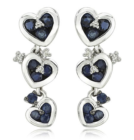 Blue Sapphire Heart Earrings