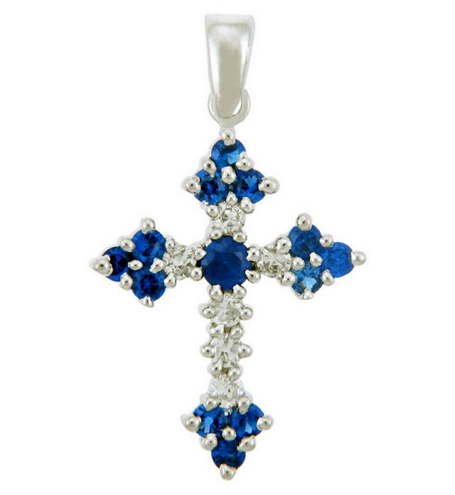 Gemstone-diamond cross