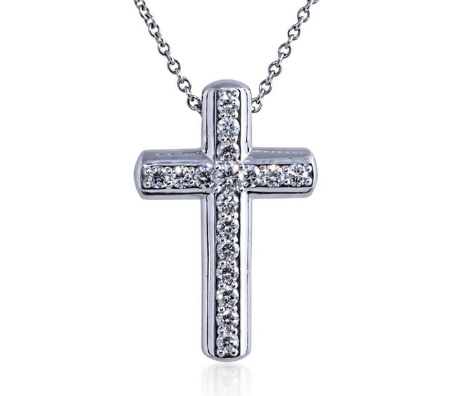 Silver cross with diamonds