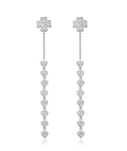 Diamond Dangling Hearts Earrings