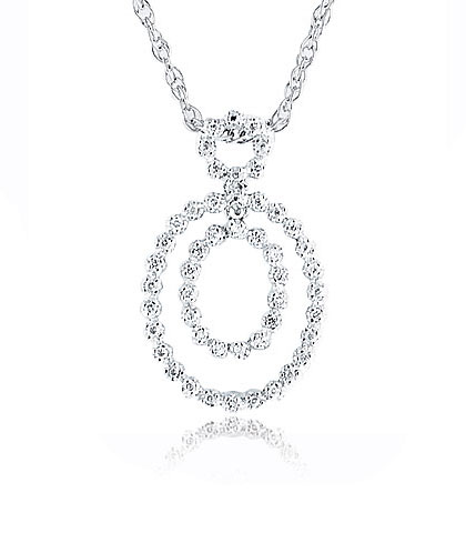 14K White Gold Diamond Oval Pendant