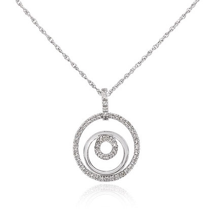 14K White Gold Diamond Triple Circle Pendant