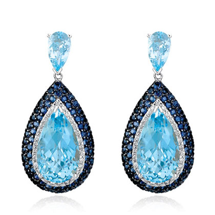 Blue Topaz and Sapphire Dangle Earrings