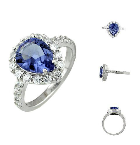Silver Blue CZ Anniversary Ring