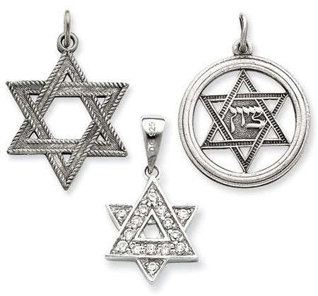 Silver Star of David Charms